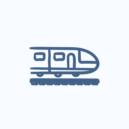 high speed: Modern high speed train vector sketch icon isolated on background. Hand drawn Modern high speed train icon. Modern high speed train sketch icon for infographic, website or app.