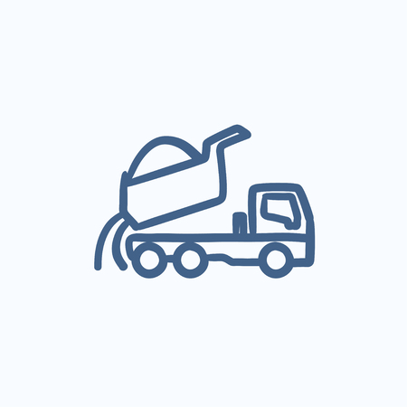 truckload: Dump truck vector sketch icon isolated on background. Hand drawn Dump truck icon. Dump truck sketch icon for infographic, website or app. Illustration