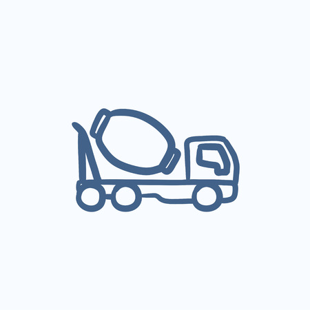 liquidizer: Concrete mixer truck vector sketch icon isolated on background. Hand drawn Concrete mixer truck icon. Concrete mixer truck sketch icon for infographic, website or app. Illustration