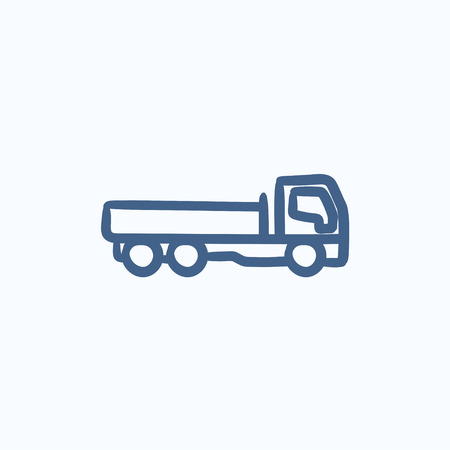 hand truck: Dump truck vector sketch icon isolated on background. Hand drawn Dump truck icon. Dump truck sketch icon for infographic, website or app. Illustration