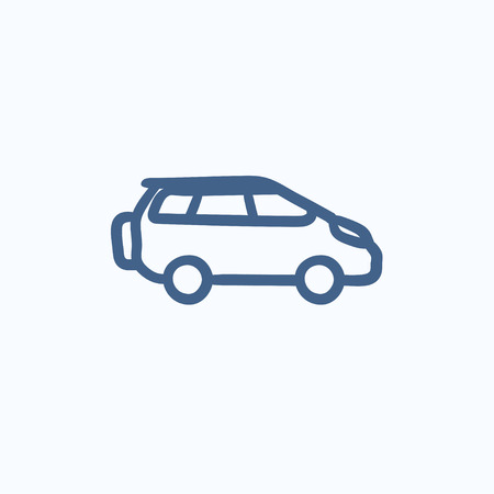 minibus: Minivan vector sketch icon isolated on background. Hand drawn Minivan icon. Minivan sketch icon for infographic, website or app.