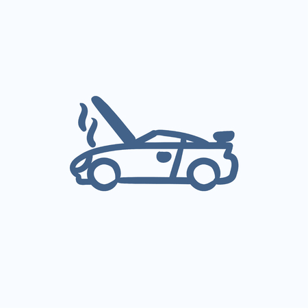 broken down: Broken car with open hood vector sketch icon isolated on background. Hand drawn Broken car with open hood icon. Broken car with open hood sketch icon for infographic, website or app.