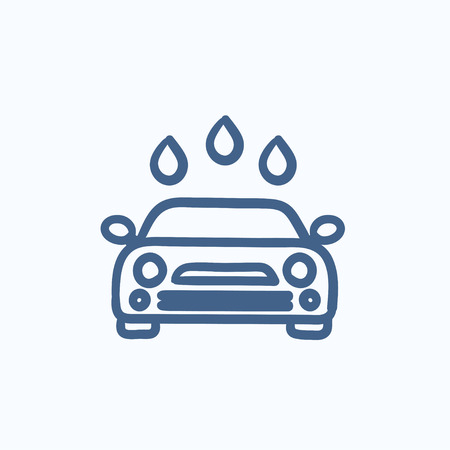 car wash: Car wash vector sketch icon isolated on background. Hand drawn Car wash icon. Car wash sketch icon for infographic, website or app.