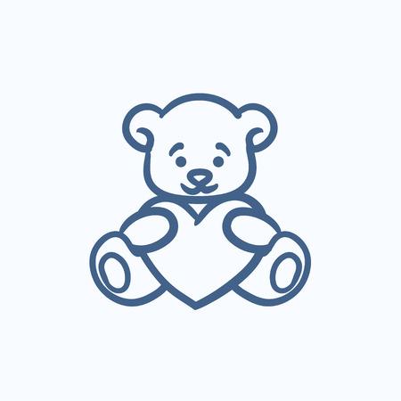 Teddy bear avec le vecteur de coeur icône croquis isolé sur fond. Hand drawn ours en peluche avec coeur icône. Teddy bear avec croquis coeur icône infographie, site Web ou application.