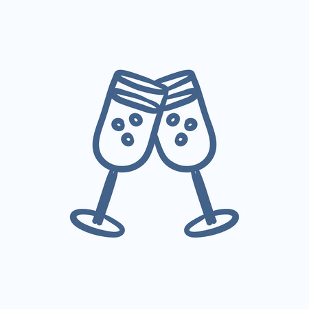 champaign: Two glasses with champaign vector sketch icon isolated on background. Hand drawn Two glasses with champaign icon. Two glasses with champaign sketch icon for infographic, website or app.