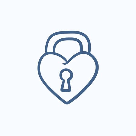 secret love: Lock shaped heart vector sketch icon isolated on background. Hand drawn Lock shaped heart icon. Lock shaped heart sketch icon for infographic, website or app.