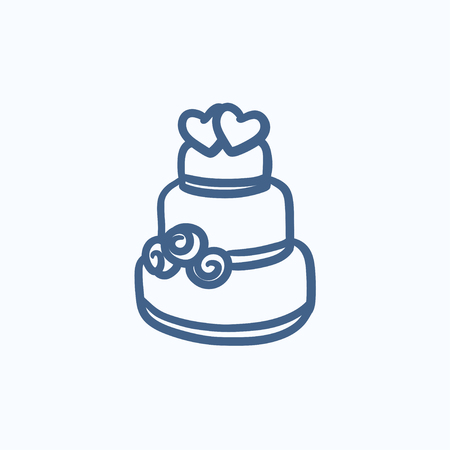 tier: Wedding cake vector sketch icon isolated on background. Hand drawn Wedding cake icon. Wedding cake sketch icon for infographic, website or app. Illustration