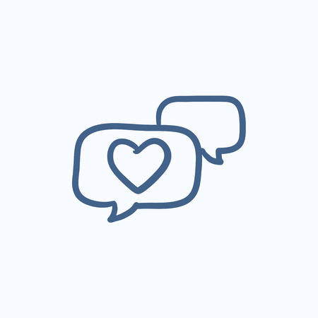 Heart in speech bubble vector sketch icon isolated on background. Hand drawn Heart in speech bubble icon. Heart in speech bubble sketch icon for infographic, website or app. Ilustração