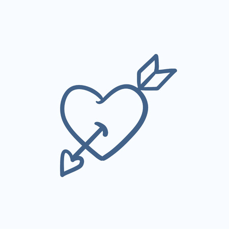 lovingly: Heart pierced with arrow vector sketch icon isolated on background. Hand drawn Heart pierced with arrow icon. Heart pierced with arrow sketch icon for infographic, website or app.