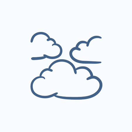 meteorology: Clouds vector sketch icon isolated on background. Hand drawn Clouds icon. Clouds sketch icon for infographic, website or app.