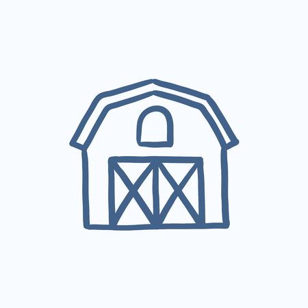 Edificios de la granja dibujo icono para web, móvil y la infografía. Dibujado a mano icono de edificios de la granja. edificios de la granja icono del vector. edificios de la granja icono aislado en el fondo blanco. Foto de archivo - 58464405