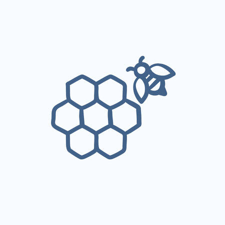 Honeycomb and bee sketch icon for web, mobile and infographics. Hand drawn honeycomb and bee icon. Honeycomb and bee vector icon. Honeycomb and bee icon isolated on white background. Ilustração