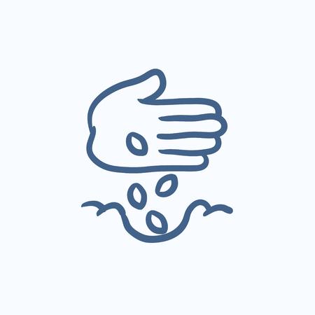 Hand Pflanzung Samen in Boden Vektor-Skizze Symbol isoliert auf den Hintergrund. Hand gezeichnet Hand Pflanzung Samen in Boden-Symbol. Hand pflanzen Samen in Boden Skizze Symbol für Infografik, die Website oder App.