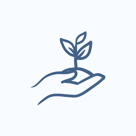 seedling: Hands holding seedling in soil vector sketch icon isolated on background. Hand drawn Hands holding seedling in soil icon. Hands holding seedling in soil sketch icon for infographic, website or app.