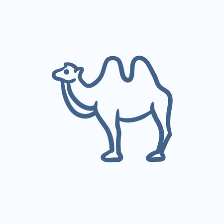 hump: Camel vector sketch icon isolated on background. Hand drawn Camel icon. Camel sketch icon for infographic, website or app. Illustration