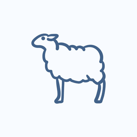 Sheep vector sketch icon isolated on background. Hand drawn Sheep icon. Sheep sketch icon for infographic, website or app.