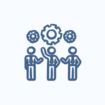 Businessmen under the gears vector sketch icon isolated on background. Hand drawn Businessmen under the gears icon. Businessmen under the gears sketch icon for infographic, website or app.