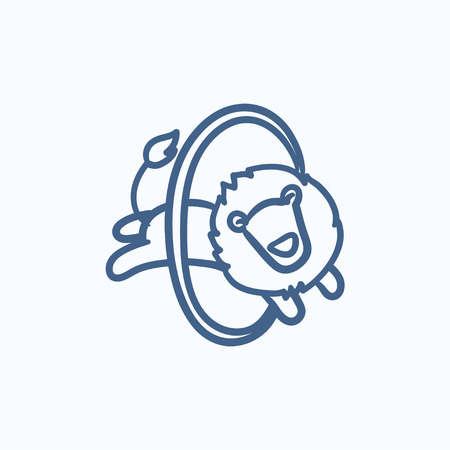 Lion jumping through ring vector sketch icon isolated on background. Hand drawn Lion jumping through ring icon. Lion jumping through ring sketch icon for infographic, website or app.