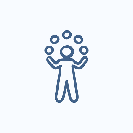 Man juggling with balls vector sketch icon isolated on background. Hand drawn Man juggling with balls icon. Man juggling with balls sketch icon for infographic, website or app. Vettoriali