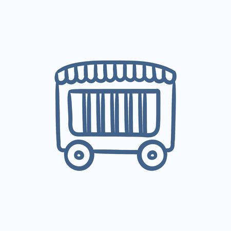circus caravan: Circus wagon vector sketch icon isolated on background. Hand drawn Circus wagon icon. Circus wagon sketch icon for infographic, website or app.
