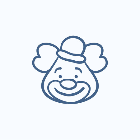 clown circus: Clown vector sketch icon isolated on background. Hand drawn Clown icon. Clown sketch icon for infographic, website or app.