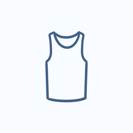 singlet: Male singlet vector sketch icon isolated on background. Hand drawn Male singlet icon. Male singlet sketch icon for infographic, website or app.