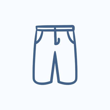 Man shorts vector schets pictogram op een achtergrond. Hand getrokken Man shorts icoon. Man shorts schets pictogram voor infographic, website of app.