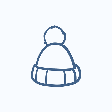 knitten: Knitted hat vector sketch icon isolated on background. Hand drawn Knitted hat icon. Knitted hat sketch icon for infographic, website or app. Illustration