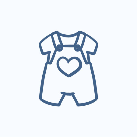 overol: Bebé icono de un mono y una camisa del bosquejo del vector aislado en el fondo. Dibujado a mano guardapolvos del bebé y el icono de la camisa. Bebé icono de un mono y camiseta para boceto infografía, sitio web o aplicación.