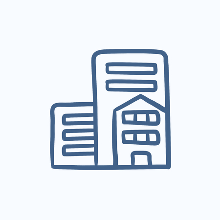 cemented: Residential buildings vector sketch icon isolated on background. Hand drawn Residential buildings icon. Residential buildings sketch icon for infographic, website or app. Illustration