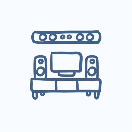 black appliances: TV flat screen and home theater vector sketch icon isolated on background. Hand drawn TV flat screen and home theater icon. TV flat screen and home theater sketch icon for infographic, website or app.