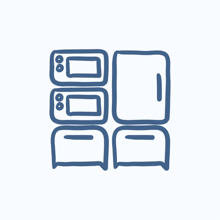 Household appliances vector sketch icon isolated on background. Hand drawn Household appliances icon. Household appliances sketch icon for infographic, website or app.