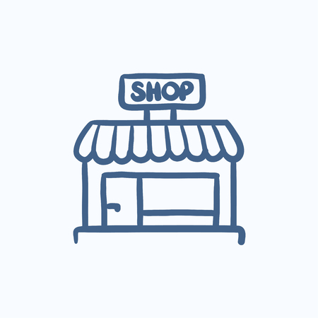 awnings windows: Shop store vector sketch icon isolated on background. Hand drawn Shop store icon. Shop store sketch icon for infographic, website or app.