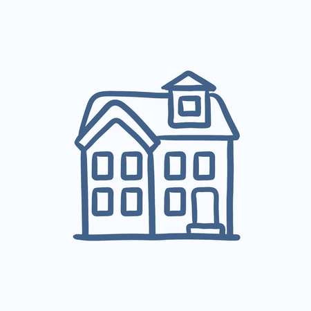 storey: Two storey detached house vector sketch icon isolated on background. Hand drawn Two storey detached house icon. Two storey detached house sketch icon for infographic, website or app. Illustration