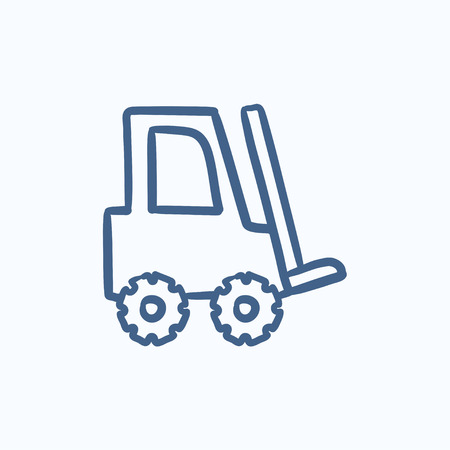 Forklift vector sketch icon isolated on background. Hand drawn Forklift icon. Forklift sketch icon for infographic, website or app. Ilustracja