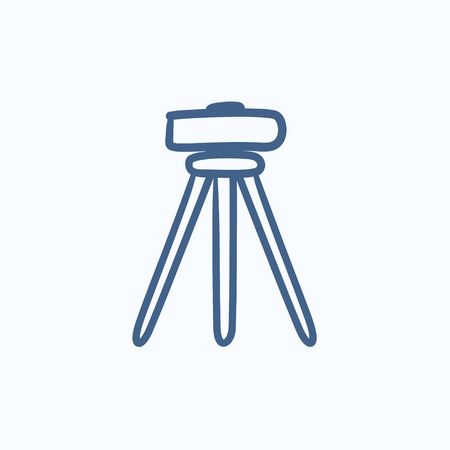 levelling: Theodolite on tripod vector sketch icon isolated on background. Hand drawn Theodolite on tripod icon. Theodolite on tripod sketch icon for infographic, website or app.