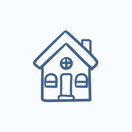 Detached house vector sketch icon isolated on background. Hand drawn Detached house icon. Detached house sketch icon for infographic, website or app. Ilustração
