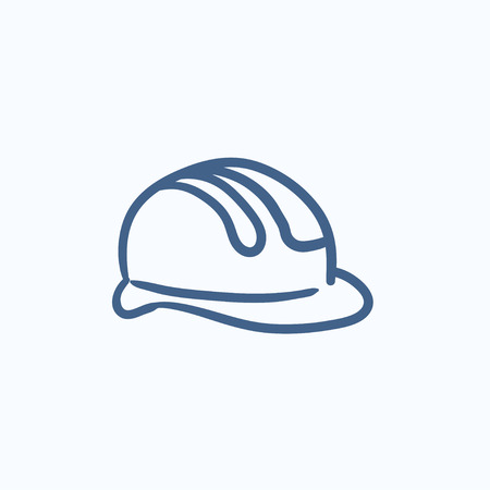 hard hat icon: Hard hat vector sketch icon isolated on background. Hand drawn Hard hat icon. Hard hat sketch icon for infographic, website or app.