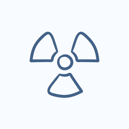 ionizing radiation: Ionizing radiation sign vector sketch icon isolated on background. Hand drawn Ionizing radiation sign icon. Ionizing radiation sign sketch icon for infographic, website or app. Illustration