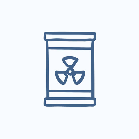ionizing: Barrel with ionizing radiation sign vector sketch icon isolated on background. Hand drawn Barrel with radiation sign icon. Barrel with radiation sign sketch icon for infographic, website or app.