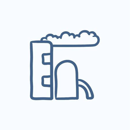 refinery: Refinery plant vector sketch icon isolated on background. Hand drawn Refinery plant icon. Refinery plant sketch icon for infographic, website or app.