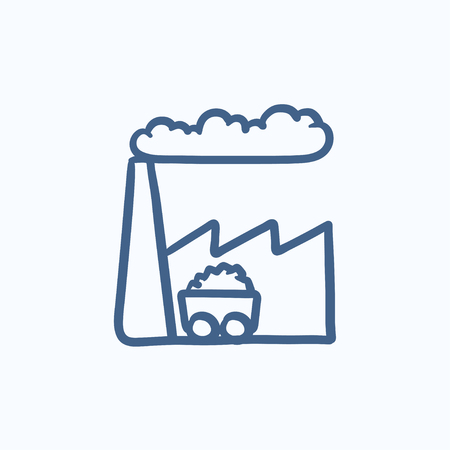 environmental hazard: Factory vector sketch icon isolated on background. Hand drawn Factory icon. Factory sketch icon for infographic, website or app.