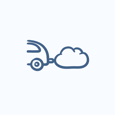 spewing: Car spewing polluting exhaust vector sketch icon isolated on background. Hand drawn Car spewing polluting exhaust icon. Car spewing polluting exhaust sketch icon for infographic, website or app.