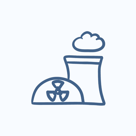 contaminate: Nuclear power plant vector sketch icon isolated on background. Hand drawn Nuclear power plant icon. Nuclear power plant sketch icon for infographic, website or app.