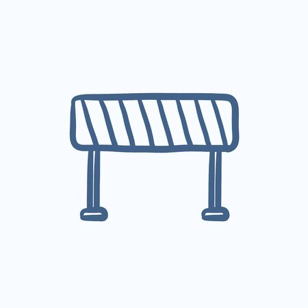 road barrier: Road barrier vector sketch icon isolated on background. Hand drawn Road barrier icon. Road barrier sketch icon for infographic, website or app. Illustration
