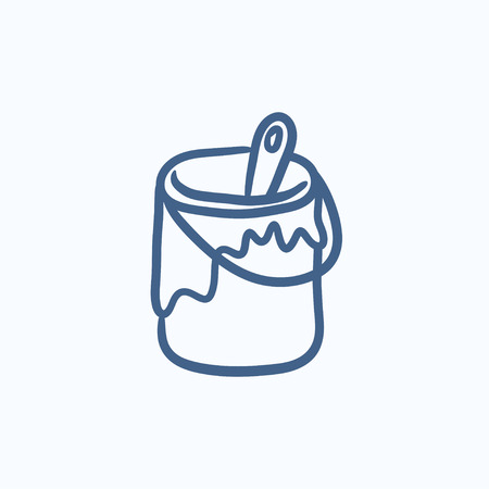 paint tin: Paint brush in the paint tin vector sketch icon isolated on background. Hand drawn Paint brush in the paint tin icon. Paint brush in the paint tin sketch icon for infographic, website or app. Illustration