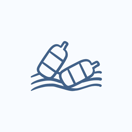 ecological problem: Bottles floating in water vector sketch icon isolated on background. Hand drawn Bottles floating in water icon. Bottles floating in water sketch icon for infographic, website or app. Illustration