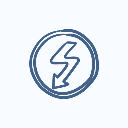 downward: Lightning arrow downward vector sketch icon isolated on background. Hand drawn Lightning arrow downward icon. Lightning arrow downward sketch icon for infographic, website or app.