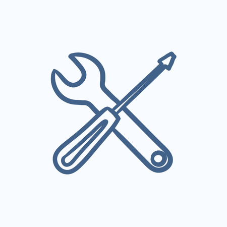 Screwdriver and wrench tools vector sketch icon isolated on background. Hand drawn Screwdriver and wrench tools icon. Screwdriver and wrench tools sketch icon for infographic, website or app. Stock Vector - 58466181