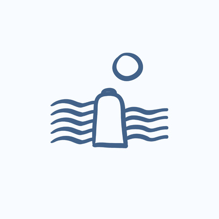 hydropower: Solar energy and hydropower vector sketch icon isolated on background. Hand drawn Solar energy and hydropower icon. Solar energy and hydropower sketch icon for infographic, website or app.